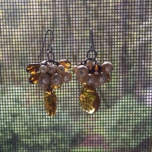 Gold topaz drop earrings with dainty pearls